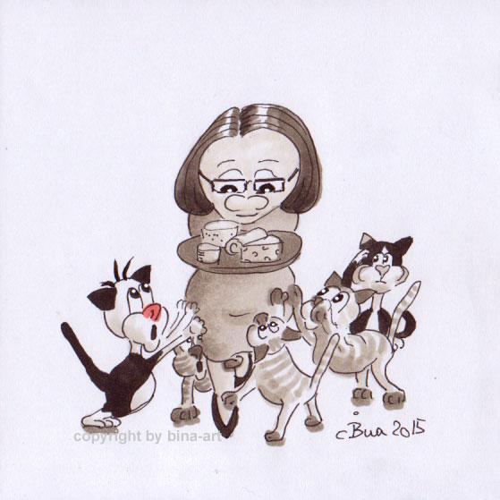 Renate Kimmel und ihre fünf Katzen